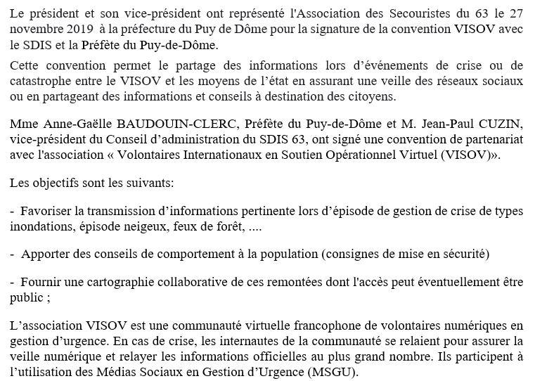 Convention VISOV avec le SDIS et Préfecture (27/11/2019)